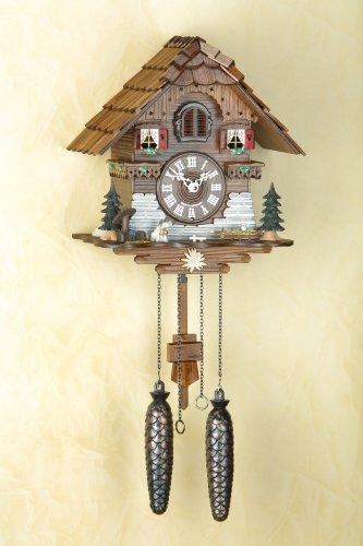 Trenkle Uhren Alemán Reloj de cuco - estilo Chalet - con mecanismo de cuarzo - 25 cm - Auténtico reloj de cuco del bosque negro
