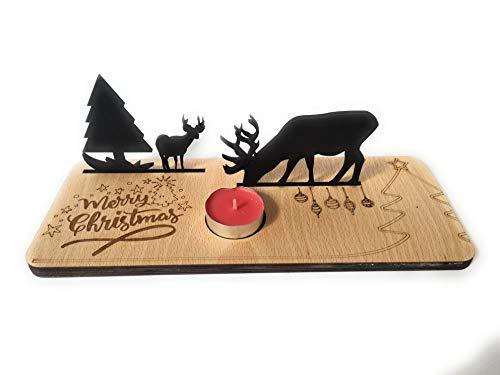 Ant Creations   Centro Tavola Natalizio Merry Christmas con decorazioni e candela rossa inclusa   Idea Regalo per i nonni, parenti e amici per Natale