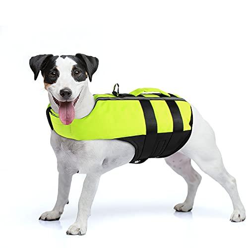 NAMSAN Dog Life Jacket Adjustable Lifesaver Jacket Reflective Preserver Inflatable Safety Dog Vest Jacket with Buoyancy & Rescue Handle Flotation Swimsuit for French Bulldog Dogs, Green Medium