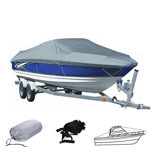Hombosi Boat Cover, 420D Heavy Duty Waterproof Runabout Boat Cover, Tri-Hull,Trailerable Speedboat Fishing Ski Boat Cover,Outdoor Protection Fits V-Hull,20/22FT(700 * 320CM)