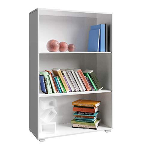 Étagère Bibliothèque Blanc Meuble de Rangement »Vela« 3 Compartiments Stockage