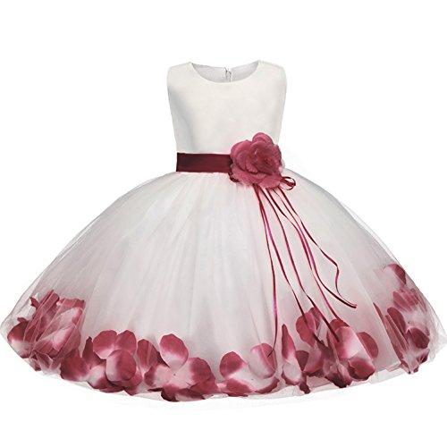 GUOCU Abito Bambina Principessa Vestito da Cerimonia per Damigella con Bowknot Floreale Abiti per Matrimonio Carnevale Natale Regalo Rosso 2 L