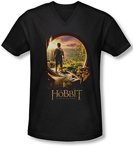 The Hobbit - Männer Hobbit In Tür mit V-Ausschnitt T-Shirt, XX-Large, Black