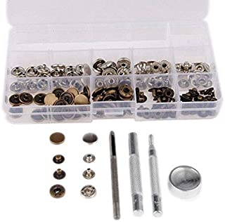 Mgoodoo 40 Sets DIY Sewing Press Studs Button Snap Fastener for Jacket Bags Clothes Assortment Size Metal General Tools Instruments 633#