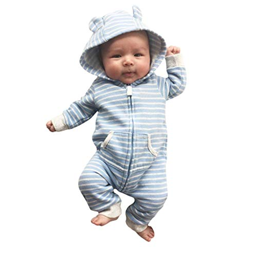 MAYOGO Bebes Recien Nacidos Ropa Primera Puesta Invierno Bodys Bebe Niño con Capucha Cremallera Mono Pelele Bebe Rayas Manga Larga Otoño Bebe Disfraz Mameluco Largo 0 a 14 Meses