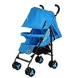 Thole Cochecito De Bebé Plegable con ArnéS De Seguridad De 2 Puntos Gran Cesta De Almacenamiento Ruedas De SuspensióN Azules