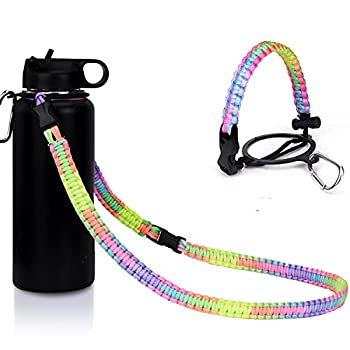 iLVANYA Paracord Handle with Shoulder Strap for Hydro Flask Wide Mouth Bottles Paracord Strap Carrier for 12oz to 64oz Bottle Water Bottle Accessories with Safety Ring Carabiner Bright Rainbow