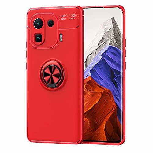 YIKLA Funda para Xiaomi Mi 11 Pro, Suave TPU Silicona Carcasa, 360° Ring Magnético Bracket Case, Armor Bumper Antigolpes Case Cover, Rojo