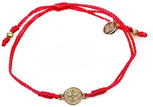 My Saint My Hero Inspirational Breathe Bracelet, Adjustable (Gold Plated Medal on Red)