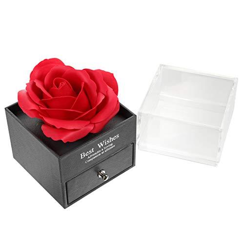 WINOMO 1 Set Blume Duftende Bad Seife Rose Blume Künstliche Rose Geschenkbox Schmuckschatulle Geschenkanordnung Box Kostenschte Blumenbox für Hochzeit Rot