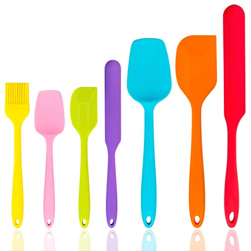 Silicone Spatula Set of 7, P&P CHEF Heat-Resistant Rubber Spatula Kitchen Utensils Set for Non-stick Cooking Baking Decorating Mixing, Seamless & Flexible Design, Non Toxic & Dishwasher Safe