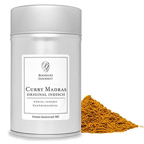 Boomers Gourmet - Premium Curry Madras, original indisch, scharfes Curry Pulver Gewürzmischung - Gewürzdose 11,5 cm - 120 g