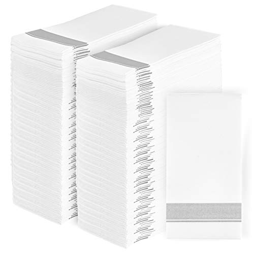 Party Bargains - Servilletas de papel desechables para invitados, diseño de lino, duraderas y decorativas, suaves para el baño, para cena, boda o fiesta de cóctel, color plateado