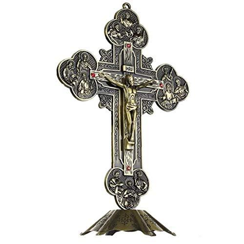 TOSSPER Regalos Religiosos Jesucristo En La Cruz Estatua De La Cruz del Crucifijo De Mesa Decoración, 21 Cm