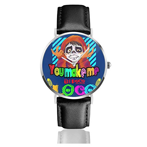 Unisex Business Casual You Make Me Un Poco Loco Uhren Quarzuhr Lederarmband schwarz Lederband für Männer Frauen Junge Kollektion Geschenk