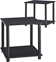 Mainstays Parsons No Tools Living Room Furniture Single Cube Shelf Oak Side End Tables with Storage, Black, Set of 2