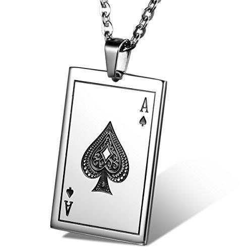 Flongo Herren-Kette Männer Anhänger, Edelstahl Anhänger Halskette Silber mit Spielkarte Pik A Spades A Poker Karten Punk Rock Herrenkette Herren-Accessoires