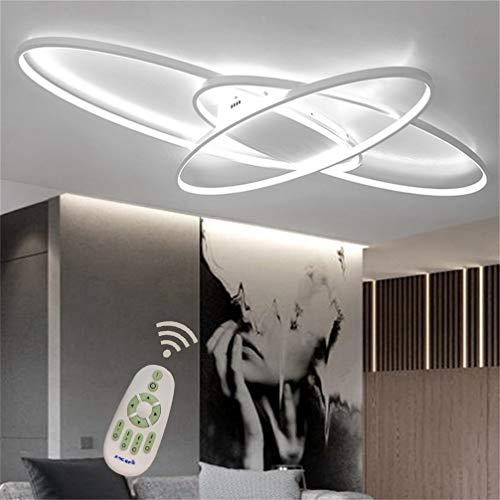 Wohnzimmerlampe LED Modern Deckenlampe Dimmbar mit Fernbedienung, Chic Oval 3-ring Design Deco Decke Lampe Metall Acryl-schirm Kronleuchter für Küche Esszimmer Bad Büro Leuchter L95*W65cm (Weiß)