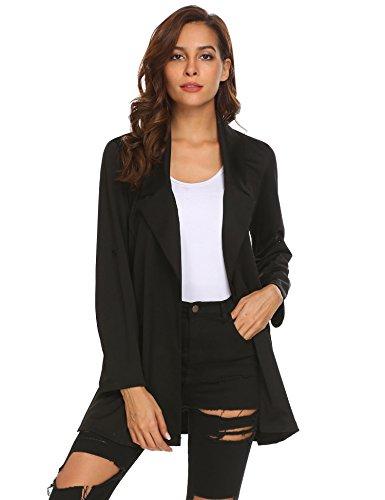 Zeagoo Women Notched Lapel Work Office Blazer Jacket Suit, Black, Large,Large,Black