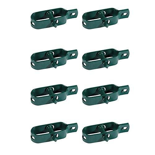Kit 8x Tendifilo Plastificato Verde per Recinzione, Rete, Stendibiancheria, in Metallo da Giardino per Pali| Set da 8 pz (8 pz)