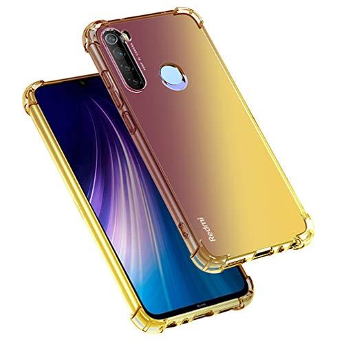 HAOYE para Xiaomi Redmi Note 8T Funda, Funda Gradiente Transparente TPU, Carcasa Cristal Ultra Slim Flexible Suave Silicona TPU Bumper, Reforzar la Cuatro Esquinas Case Cover (Negro/Oro)