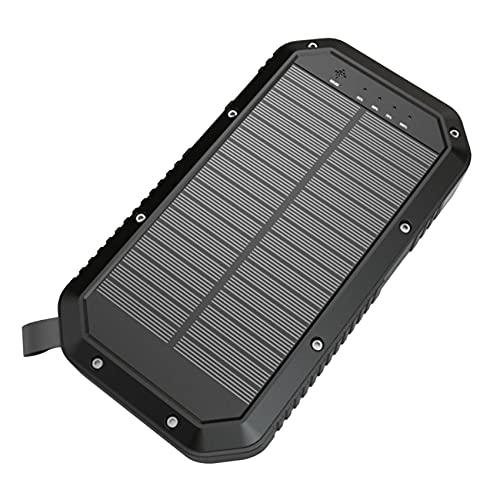 Selcouthlie EnergíA MóVil Solar 20000MAh Cargador Solar PortáTil 5V2A, Luz LED para Acampar, Impermeable, a Prueba de Polvo, a Prueba de Golpes