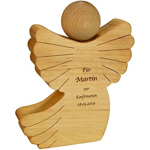 Geschenke 24 Holz Engel mit Gravur - Holzfigur zur Konfirmation mit Name und Datum personalisiert - Konfirmationsgeschenk für Mädchen und Jungen
