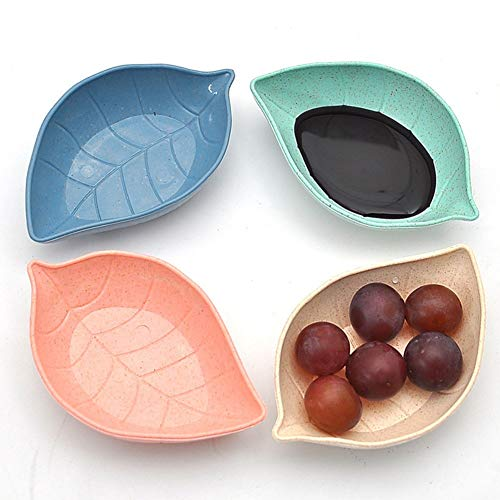 YCBHD servies saus, 4 stuks, vorm van de bladeren, slakommen voor azijn/salade, soja/wasabi, vlak, snack/keuken Blauw