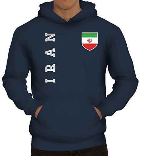 Wappen Fußball WM Fanshirt Gruppen Herren Hoodie Männer Kapuzenpullover Fan Trikot Iran, Größe: M,Navy