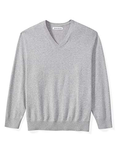 Amazon Essentials Men's Big & Tall V-Neck Sweater fit by DXL, Light Gray Heather, 5X Tall