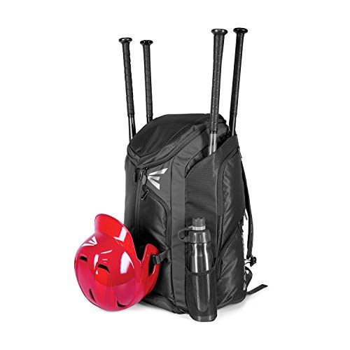 EASTON PRO X Bat & Equipment Backpack Bag | Baseball Softball | 2020 | Black | 4 Bat Sleeves | Vented Shoe Pocket | 5 Exterior Pockets | Shelf Organizer | Helmet Strap | 2 Bottle Pockets | Fence Hook