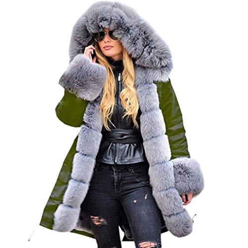 Fenverk Damen Winter Mantel Steppmantel Moonshine Warme Jacke Lang Teddyfell Winterjacke Baumwolle Parka Abnehmbare Fellkapuze S-4XL(B Armeegrün,M)