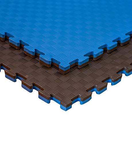 JOWY Estructura Tatami Puzzle para Gimnasio Artes Marciales Judo   Suelo Tatami Profesional 25mm   Color Azul y Negro Reversible Acabado 5 Líneas