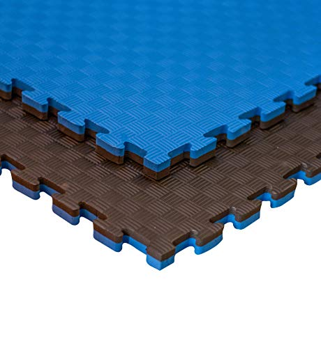 JOWY Estructura Tatami Puzzle para Gimnasio Artes Marciales Judo | Suelo Tatami Profesional 25mm | Color Azul y Negro Reversible Acabado 5 Líneas