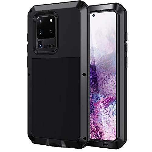 seacosmo Samsung Galaxy S20 Ultra Hülle, Aluminium Stoßfest Handyhülle Doppelte Schutz Outdoor Hülle Robust Schutzhülle für Samsung S20 Ultra, Schwarz