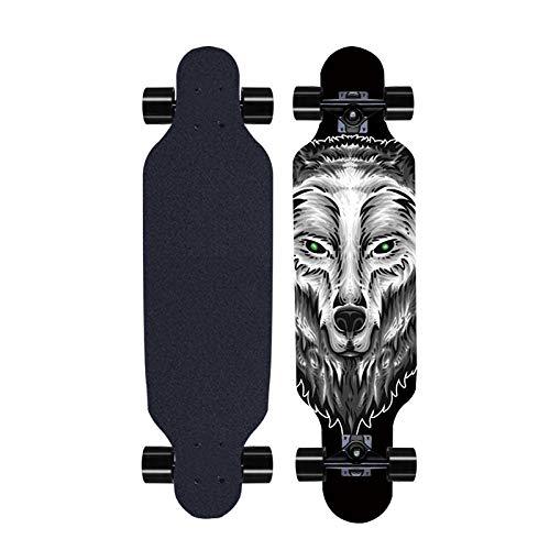 Longboard Street Skateboarding Teens Outdoor Sport Multilayer Maple Concave Longboard Deck AnfäNger MäDchen Junge Kind Skateboard-A