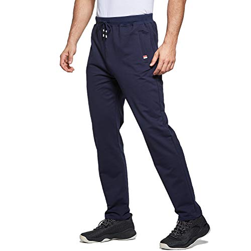 Tansozer Jogginghose Herren Baumwolle Sporthose Lang Ohne Bündchen mit reißverschluss Taschen Blau M