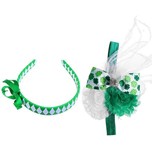 ABOOFAN 2 Piezas St. Diadema del Da de Patricio Beb de Cuatro Hojas Trbol Verde Flor Lazo para El Cabello Accesorios de Vestuario Irlands