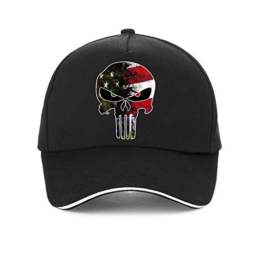 capswhh American Sniper Chris Kyle Herren Mütze Punisher Skull Navy Seal Team Baseballmützen Fashion Usa Flag Camo Verstellbarer Hut @ Black