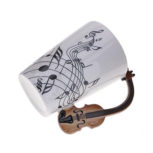 Kompassswc Keramik Kaffeetasse Lusitig Geige Henkel Porzellan Tasse Musik-Note Bedruckt Teetasse Winter Geschenk Kaffeebecher Für Musiklieber Ø7,5 H10cm 0,3L (Geige)