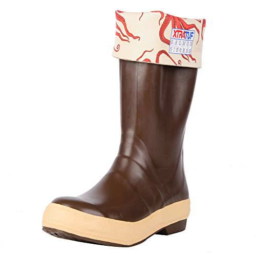 "Xtratuf 22490-CTM-080 Salmon Sisters Legacy Series 15"" Octopus Print-Lined Neoprene Women's Fishing Boots, Copper & Tan (22490)"