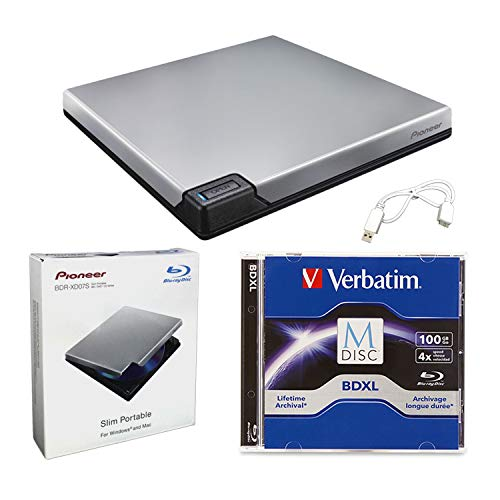 Pioneer BDR-XD07S Portable 6X Blu-ray Burner External Drive Bundle with 100GB M-DISC BDXL and USB Cable - Burns CD DVD BD DL BDXL Discs