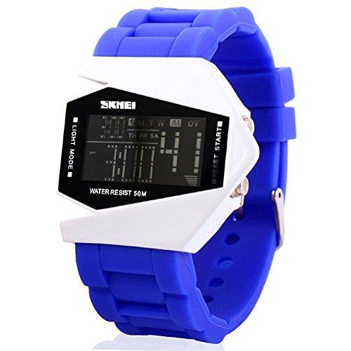 SKMEI Reloj Impermeable de Caucho para jóvenes 'LED del Estilo del Aeroplano Deportes Digitales
