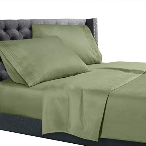 Nestl Bedding 3 Piece Sheet Set - 1800 Deep Pocket Bed Sheet Set - Hotel Luxury Double Brushed Microfiber Sheets - Deep Pocket Fitted Sheet, Flat Sheet, Pillow Cases, Twin - Sage