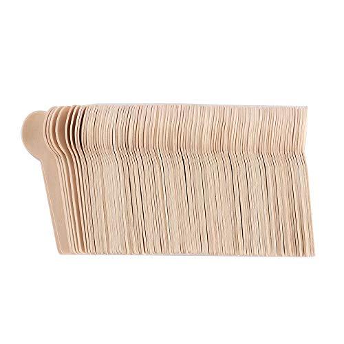 TiooDre Desechable postre Cuchara de madera (paquete de 100) - ideal para fiestas, barbacoas, picnics y eventos