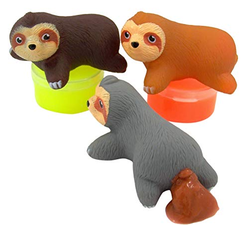 Gloworks Assorted Color Sloth Slime Pooper Squishy Toy 2 1/2 Inch Pack of 3