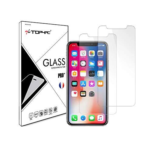 Top4pc [2 Pack] Film Vitre en Verre Trempé pour iPhone XS/iPhone X Protection Ecran Ultra Résistant Transparent Dureté 9H Sans Bulles Lot de 2