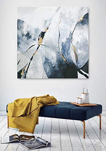 Framed Abstract Canvas Prints Wall Art for Home Decoration, Blue Modern Oil Paintings, 3D Hand Painted Pictures with Thickness for Living Room Bedroom, Stretched Ready to Hang 32x32Inch