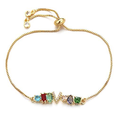 Jewellery Bracelets Bangle For Womens Irregular Cubic Zirconia Crystal Bracelet Adjustable Chain Alphabet Letter Initial Charm Bracelets For Women Jewelry V
