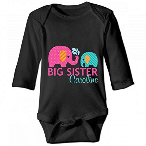 KioHp Elephant Big Sister Body bébé Unisexe à Manches Longues et col Rond, Costume d'escalade décontracté pour bébé Noir
